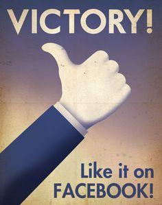 페이스북의 좋아요. 모노톤이라 부정적이면서도 승리라는 이미지가 강하다