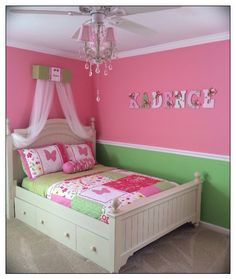 Adorable pink and green butterfly bedroom/nursery. Wall name letters Buggy's Boutique on Etsy. https://www.etsy.com/shop/dmh1414