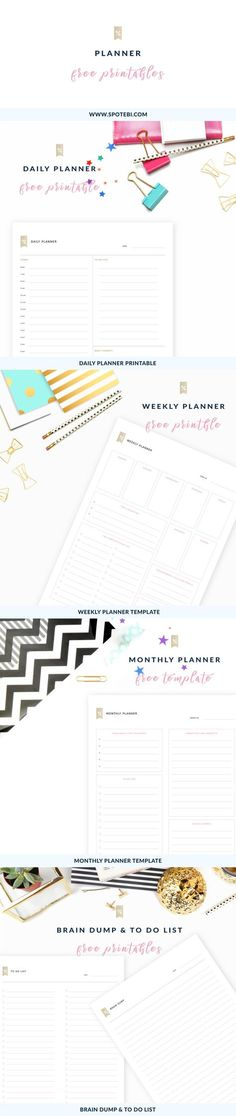Get an overview of your life with our free printable planners. Set your priorities, keep track of tasks, events and appointments, and accomplish all your goals! http://www.spotebi.com/fitness-tracker/