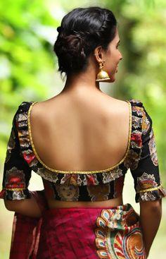 Black Blouse Designs, Simple Blouse Designs, Stylish Blouse Design, Blouse Neck Designs, Choli Designs, Saris, Butt Workout At Home, Kalamkari Blouse Designs, Kalamkari Blouses