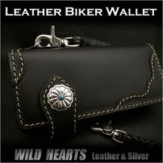 Men's Wallet Biker Wallet Genuine Cowhide Leather Black WILD HEARTS Leather&Silver http://item.rakuten.co.jp/auc-wildhearts/lw2369