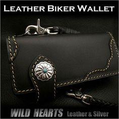 Men's Wallet Biker Wallet Genuine Cowhide Leather Black WILD HEARTS Leather&Silver http://item.rakuten.co.jp/auc-wildhearts/lw2369