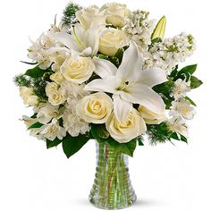 Mix de Rosas Brancas, Lírios e Astromélias no Vaso