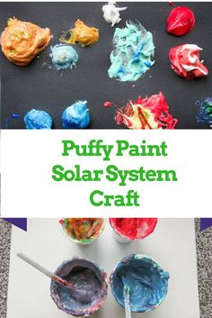 Want to try making puffy paint and learn about our solar system? Try making Puffy Planets! Fun puffy paint recipe for a space craft for kids! Planets Activities, Solar System Activities, Solar System Projects, Space Activities, Craft Activities For Kids, Science Activities, Planets Preschool, Preschooler Crafts, Space Preschool