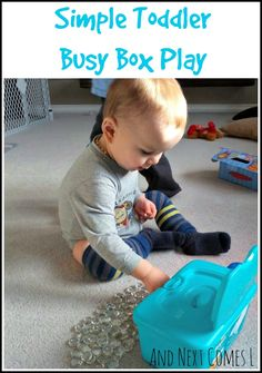 Simple busy box for toddlers that also recycles wipe containers from And Next Comes L