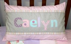 Caelyn Name Scatter in pink, grey, lilac & blue Designed by: Tula-tu Baby Linen Pink Grey, Lilac, Blue, Baby Decor, Cot, Baby Room, Nursery, Throw Pillows, Design