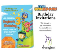 Team Umizoomi Birthday Invitation - Printable on Etsy, $10.00