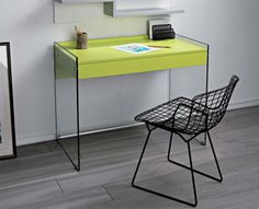 Pezzani Contemporary Desk with Glass Sides and Drawer Choice of Colour