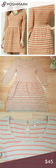 "Knitted & Knotted Elodie Striped Sweater Dress Adorable tan dress with stripes.  Excellent pre-loved condition. Bust 14 1/2"" Length 35"" Anthropologie Dresses"