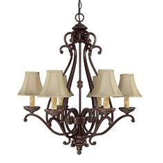 Capital Lighting 3017WB-413 6 Light Chatham Chandelier, Weathered Brown