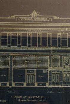 Detail  of facade from vintage blueprints of the McNear building in downtown Petaluma,CA. Zippertravel.com Digital Edition