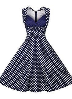 Miusol® Damen Abendkleider Vintage Cocktailkleid 1950er Retro Polka Dots  Sommer Ärmellos kleid Petticoat Faltenrock Gr.S-XXL  Amazon.de  Bekleidung 6bc4092b40
