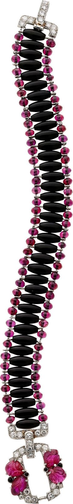 Ruby, Diamond, Black Onyx, Platinum Estate Bracelet.; Seems to move as I scroll the photo on the screen!