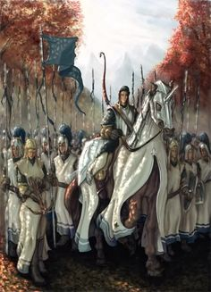 """Vanyarin army during the War of Wrath - """"the host of the Valar prepared for battle; and beneath their white banners marched the Vanyar, the people of Ingwë"""" (Of the Voyage of Eärendil and the War of Wrath, """"The Silmarillion"""")"""