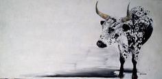 SOLD Horizontal Nguni bull Oil on canvas 38 x 76 cm Pencil Painting, Painting & Drawing, Longhorn Cattle, Art Pictures, Art Pics, Photos, Red Paint, Wildlife Art, Livestock