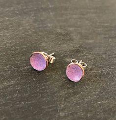 7308437cd My Cherry Pie Copper Vitreous Enamel Jewellery · Mini Dot concave enamel  stud earrings in a warm heliotrope purple colour. Vitreous Enamel,