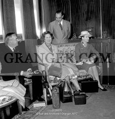 COMTE OF PARIS AND PRINCE RAINIER.   Henry of Orleans count of Paris with Prince Rainier III , princess Eugenia of Greece and princess Grace , at Orly airport may 10, 1962 on their way to Athens for the wedding of PrincessSophia ofGreece and JuanCarlos. Full credit: AGIP - Rue des Archives / Granger, NYC -- All Rights Reserved.