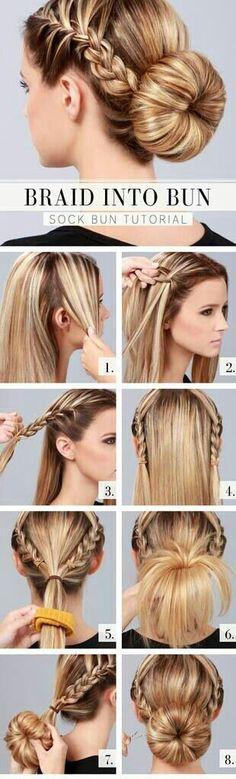 French braid into bun!!
