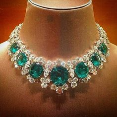 Emeralds & diamonds necklace