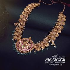Antique Jewellery Designs, Indian Jewellery Design, Antique Jewelry, Jewelry Design, Diamond Jewelry, Gold Jewelry, Gold Bangles Design, Antique Necklace, India Jewelry