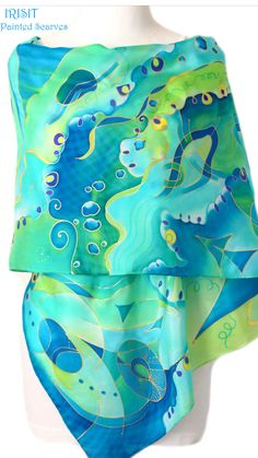 Silk Painting, Italian Fashion, Silk Scarves, Womens Scarves, Wearable Art, Hand Painted, Painted Silk, Turquoise, Pure Products