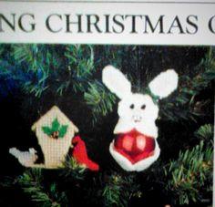 Ornaments bunny birdhouse plastic canvas 1--4