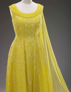 Yellow beaded evening gown Hartnell