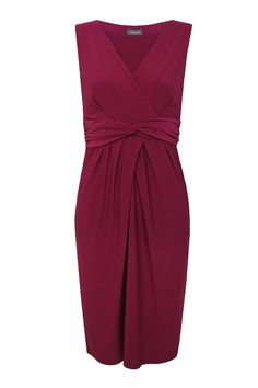This pinkish red jersey dress should fit well on all your bridesmaid figure types. It's neat enough on and under the bust as well as being well designed at the waist and hip too. 104 cm should hang approximately at the knee.