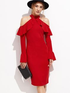 0db1b4d17d Shop Red Open Shoulder Zipper Back Ruffle Sheath Dress online. SheIn offers  Red Open Shoulder