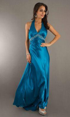 Open Back Ruched Beaded Long V Neck Halter Empire Elegant Blue Sexy Evening Dress