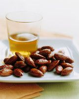 Tamari-and-Maple-Roasted Almonds | Martha Stewart Living - These tangy glazed nuts go perfectly with a glass of sherry.