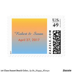 1st Class Sunset Beach Colors Stamp