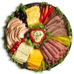 Veggie, cheese, meat, and dip platter Meat Cheese Platters, Deli Platters, Deli Tray, Veggie Cheese, Meat Trays, Meat Platter, Antipasto Platter, Food Platters, Party Trays