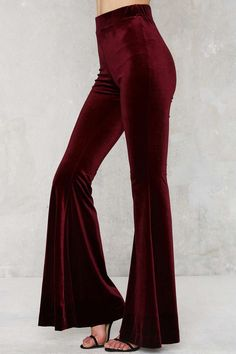 Wine Red Velvet Pants...like them. Can't help notice that lady has some terrible toenails...hAha