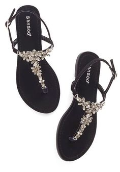 Shine Like You Mean It Sandal in Black. You wont have to convince your pals that you know all about standout style - these gemstone sandals prove it! Cute Sandals, Black Sandals, Black Shoes, Sparkly Sandals, Dressy Sandals, Pretty Shoes, Cute Shoes, Me Too Shoes, Shoe Boots
