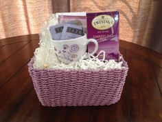 stationary & tea gift basket...include in a pastel basket a pretty tea cup, some notecards with envelopes, a few of your favorite flavored tea bags and two rock candy stir sticks