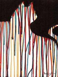 """Saatchi Online Artist daniel levy; Painting, """"Black Silhouette & Colors"""" #art  positive/negative space exploration"""