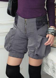 Newest Korean Fashion Short Black Zipper Pants  Item Code:  SE1893+Grey    US$19.25