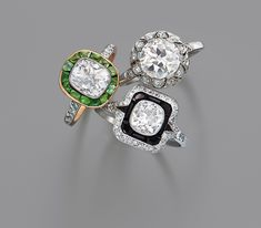 Fred Leighton vintage diamond engagement rings.