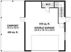First Floor Plan of Garage Plan 99942