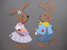 Fensterbild*Tonkarton*Hasenpaar MIA und BRUNO* Frühling*Ostern*Deko*Kinder 11