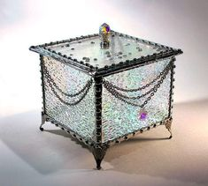 Irridized Clear Stained Glass Box  Wedding by SisterArtGlass, $75.00