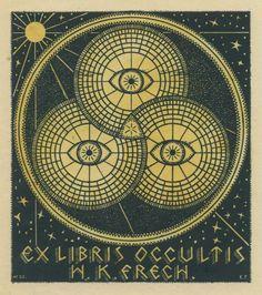 Ex Libris Occultis W. K. Frech Drei Pupillen in Kreisen, darum Sonne und Sterne o.J. 80 x 60 mm zweifarbiger Buchdruck