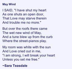 May Wind by Sara Teasdale (1884-1933)