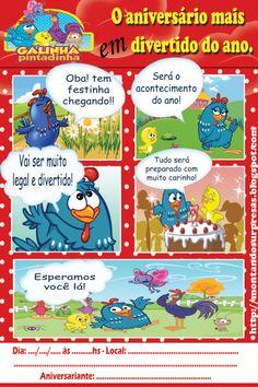 Montando surpresas  convite gibi da galinha pintadinha gratuito Paper Toys, 1st Birthday Parties, Alice, Bernardo, Lucca, Decorations, Invitation Birthday, Hens, Themed Parties