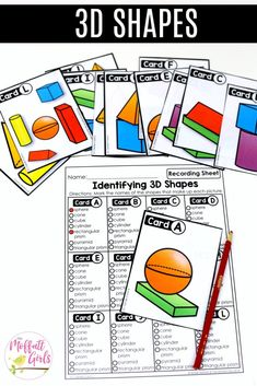 Identifying 3D Shapes: These fun 1st Grade Math activities help students understand basic geometry with the use of shapes and fractions in a hands-on way!
