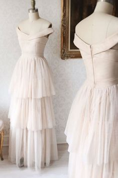 Simple champagne tulle long prom dress, champagne evening dress