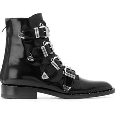 Philipp Plein buckle strap studded boots ($1,705) ❤ liked on Polyvore featuring shoes, boots, black, black back zip boots, black shoes, studded buckle boots, spike shoes and philipp plein boots