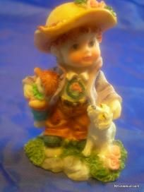 Cute Child Figurine Child Holding Doll With His Dog Free Shipping
