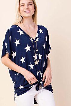 91771012dd2a55 Lila Button Down Star Print Top   Navy – GOZON Boutique Star Print